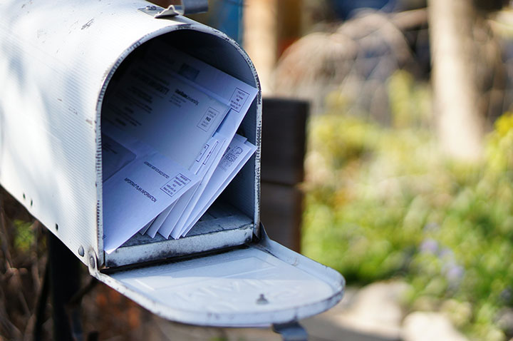 Mailbox with letters inside