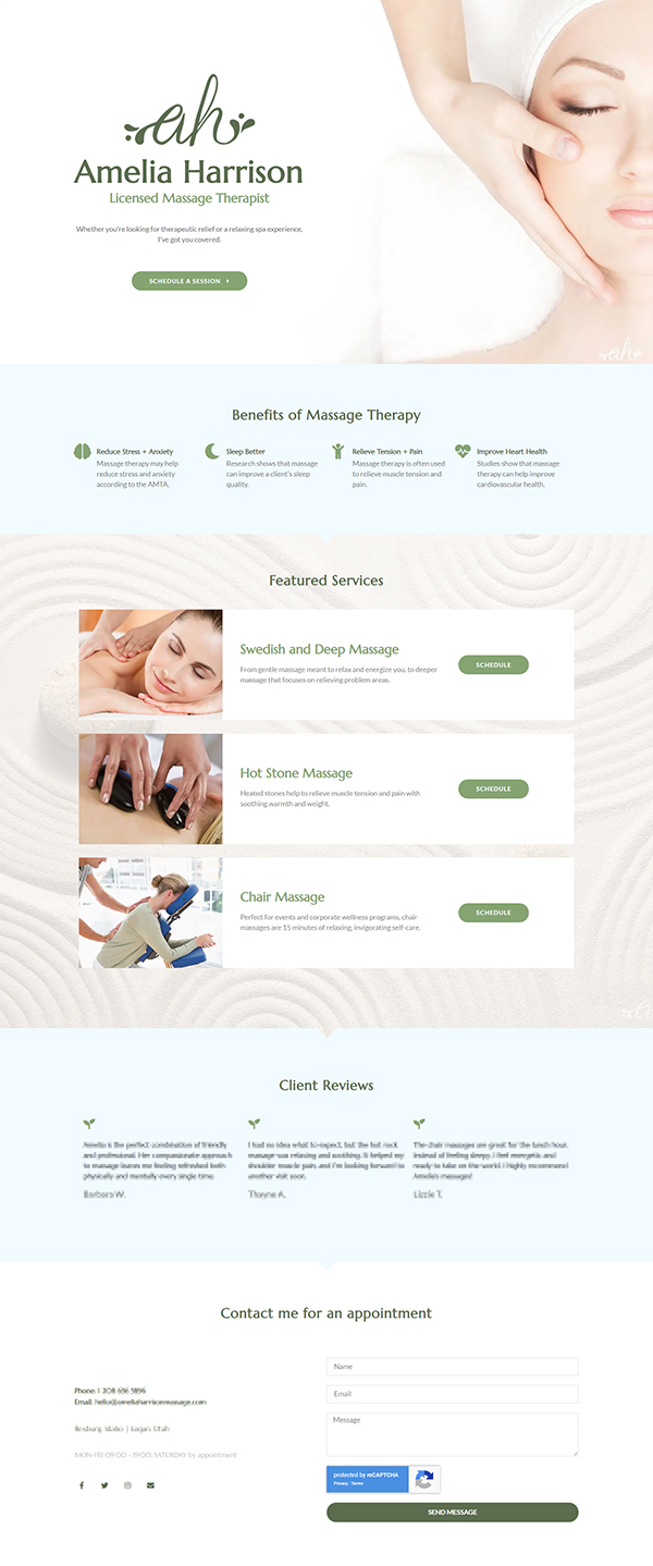 Screenshot of massage therapy website