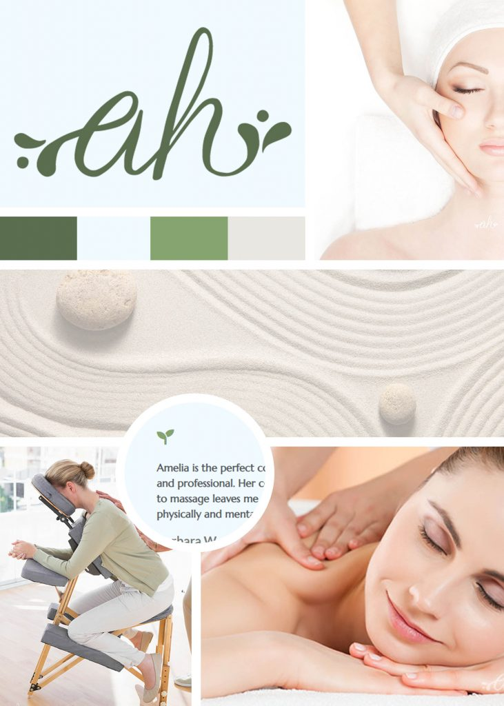 Moodboard showing logo and custom colors for Amelia Harrison Massage